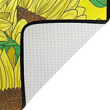 MASSIKOA Yellow Sunflowers Non Slip Backing Entrance Mat Floor Mat Rug Indoor Outdoor Front Door Bathroom Mats 23.6 x 15.7 in