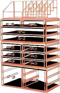"HBlife Makeup Organizer Acrylic Cosmetic Storage Drawers and Jewelry Display Box with 12 Drawers, 9.5"" x 5.4"" x 15.8"", 4 Piece,Orange"