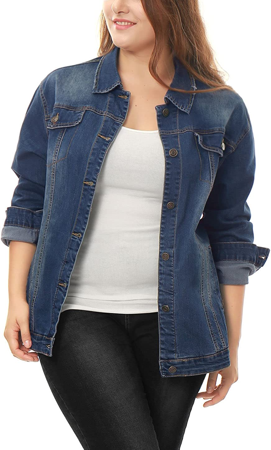 uxcell Women's Plus Size Button Down Washed Denim Jacket with Chest Flap Pocket