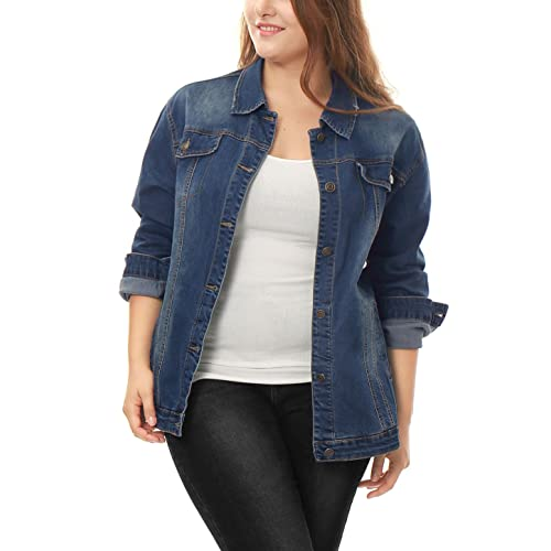 c7a4d8d6afe Allegra K Women s Plus Size Button Down Washed Denim Jacket w Chest Flap  Pocket