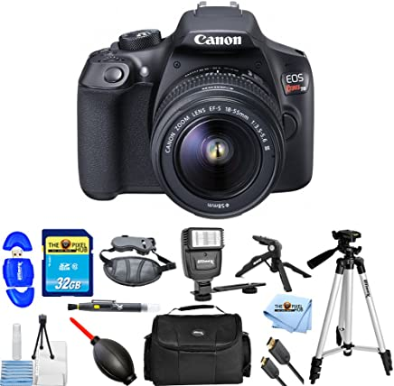 $379 Get Canon EOS Rebel T6 with 18-55mm DC III Kit PRO Bundle with 32GB SD Card, Flash, Tripods, Gadget Case, HDMI Cable + More [International Version]
