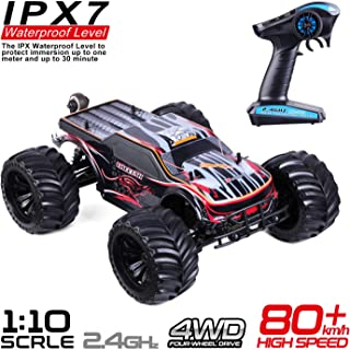 1:10 Scale Remote Control Car Truck, 80+ KM/H High Speed RTR RC Truck, 2.4GHZ Radio Controlled Electric RC Car, 4WD 4x4 Off Road Monster Truck for Adults, IPX7 Waterproof Racing Vehicle Truck