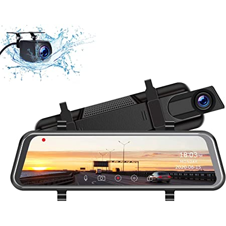 """2.5K Mirror Dash Cam for Car,10"""" Rear View Mirror Camera Night Vision Full Touch Screen Waterproof Reverse Backup Camera, Dual Dash Camera Front and Rear w/Parking Assist, Loop Recording, G-Sensor"""