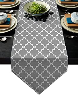 Linen Burlap Table Runner Dresser Scarves, Geometric Patterned Moroccan Tiles Grey Kitchen Table Runners for Dinner Holiday Parties, Wedding, Events, Decor - 13 x 90 Inch