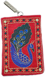 Kuber Industries™ Designer Embroided Mobile-Phone Pouch Cover with Purse Pocket and Sari Hook for Women (Pink) - BG72