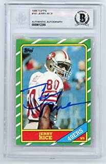 Jerry Rice 1986 Topps Football Autograph Auto Rookie Card #161 - BAS - Beckett Authentication - Football Slabbed Autographed Rookie Cards