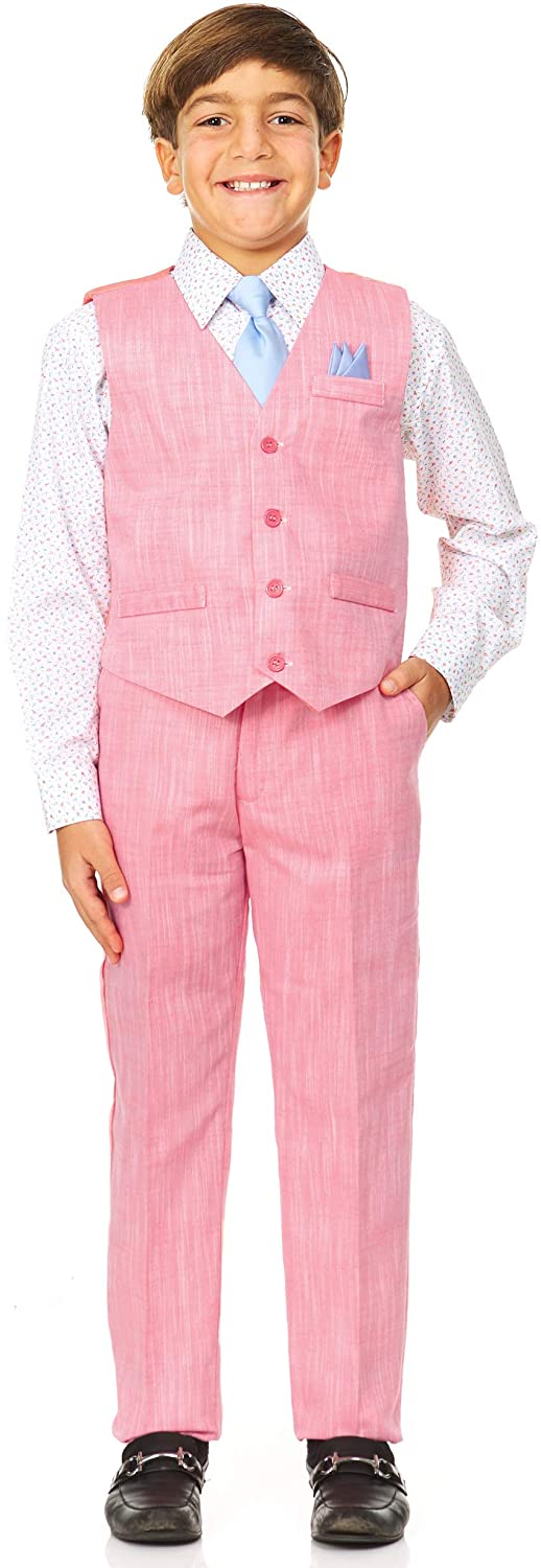 Safety and trust Vittorino Boy's Linen Look 4 Piece with Shir Set New popularity Pants Vest Suit