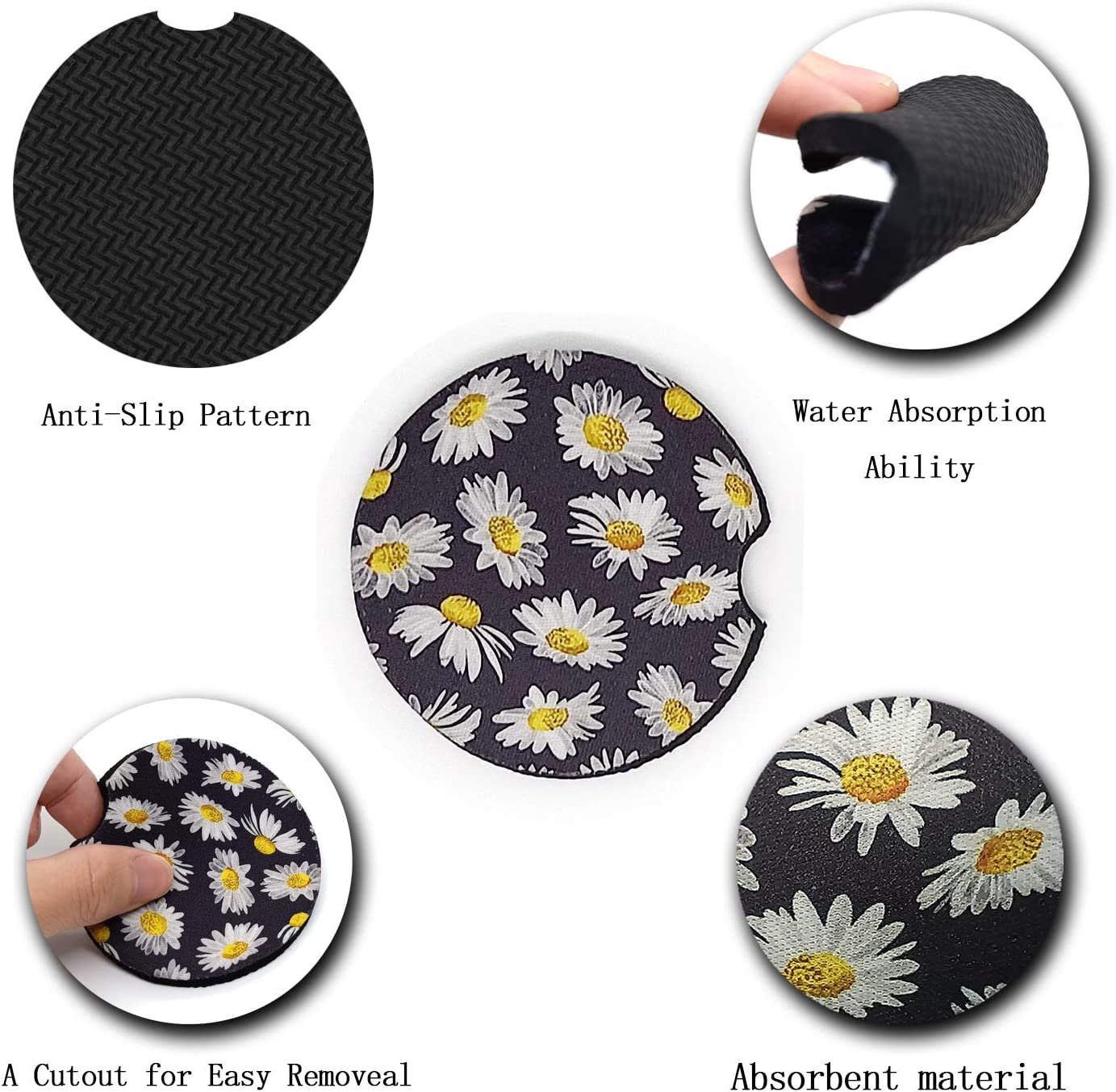 Auto Accessories for Women /& Lady,Pack of 2 Car Coasters for Drinks Absorbent Leopard-1 ar Cup Holder Coasters for Your Car with Fingertip Grip Cute Car Coasters for Women