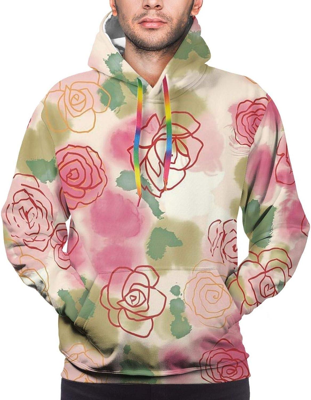 Flower Rose Max 56% OFF Ink Painting Unisex Men Sweatshirt D Large-scale sale Women 3D Hoodie