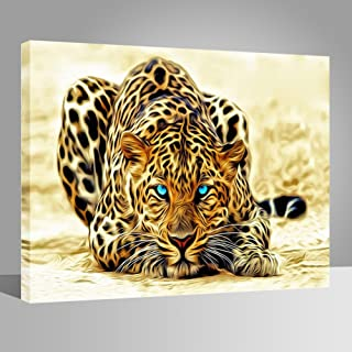 LIUDAO DIY Paint Number Kits Brushes Acrylic Pigment Oil Painting on Canvas Leopard 16x20 Inches Wooden Frame