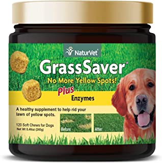 NaturVet – GrassSaver Supplement for Dogs – Healthy Supplement to Help Rid Your Lawn of Yellow Spots – Synergistic Combination of B-Complex Vitamins & Amino Acids – 120 Soft Chews