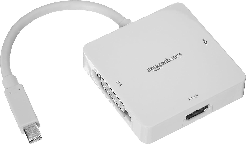 Amazon Basics Mini DisplayPort to HDMI/DVI/VGA Adapter - White, 5-Pack
