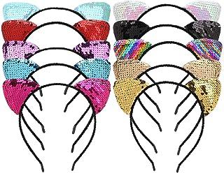 comprar comparacion Mwoot Diadema para niñas, 10 Piezas Orejas de Gato Diadema Brillante Lentejuela Banda para el Pelo Decoración de Fiesta