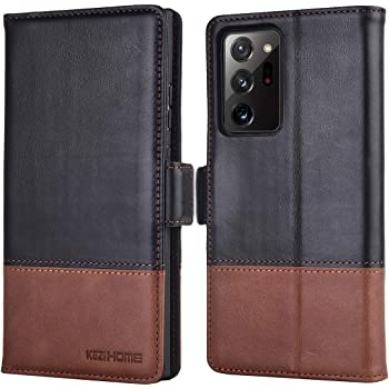 KEZiHOME Note 20 Ultra Case, Genuine Leather [RFID Blocking] Galaxy Note 20 Ultra 5G Wallet Case Credit Card Slot Flip Magnetic Stand Case for Samsung Galaxy Note 20 Ultra 2020 (Black/Brown)