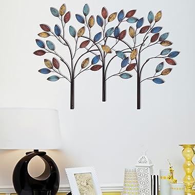 Asense Tree Leaf Metal Wall Art Sculptures Home Decor Tree of Life Wall Decoration (Tree of Life 2)