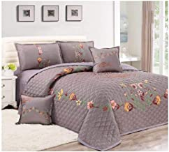 Floral Compressed 4Pcs Comforter Set, Single Size, Px-002, Gray,