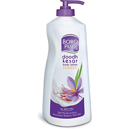 BoroPlus Doodh Kesar Body Lotion with Goodness of Badam and Milk Cream | 24 Hour Moisturisation | For Healthy, Smooth, Glowing, Moisturised and Deeply Nourished Skin | Non Greasy Ayurvedic Body Lotion for All Skin Types, 400ml