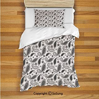 SoSung Paisley Kids Duvet Cover Set Twin Size, Minimalist Oriental Florets Leaves Dark Colors Iranian Culture Featured Image 2 Piece Bedding Set with 1 Pillow Sham,Grey and White