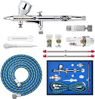 Gocheer High Precision Dual Action Gravity Feed Airbrush with 0.2 0.3 0.5mm Nozzles and 1/8