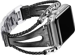 Secbolt Leather Bands Compatible Apple Watch Band Series 4 40mm, Series 3/2/1 38mm, Double Twist Handmade Vintage Natural Leather Bracelet Replacement Bracelet Straps Women