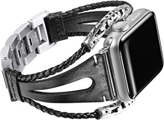 Secbolt Leather Bands Compatible Apple Watch Band Series 4 & 5 40mm,  Series 3/2/1 38mm,  Double Twist Handmade Vintage Natural Leather Bracelet Replacement Bracelet Straps Women
