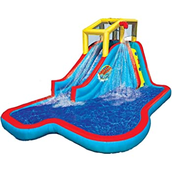 BANZAI Slide N Soak Splash Park Inflatable Outdoor Kids Water Park Play Center with Blower