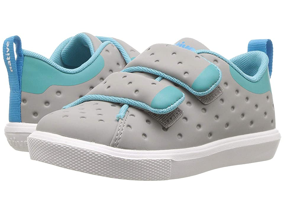 Native Kids Shoes Monaco HL CT (Toddler/Little Kid) (Pigeon Grey Coated/Pool Blue/Shell White) Kids Shoes