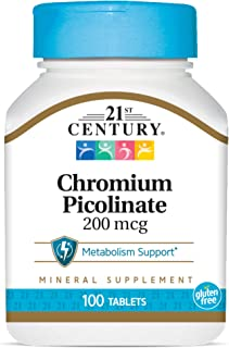 21st Century Chromium Picolinate 200 mcg Tablets, 100-Count (Pack of 4)