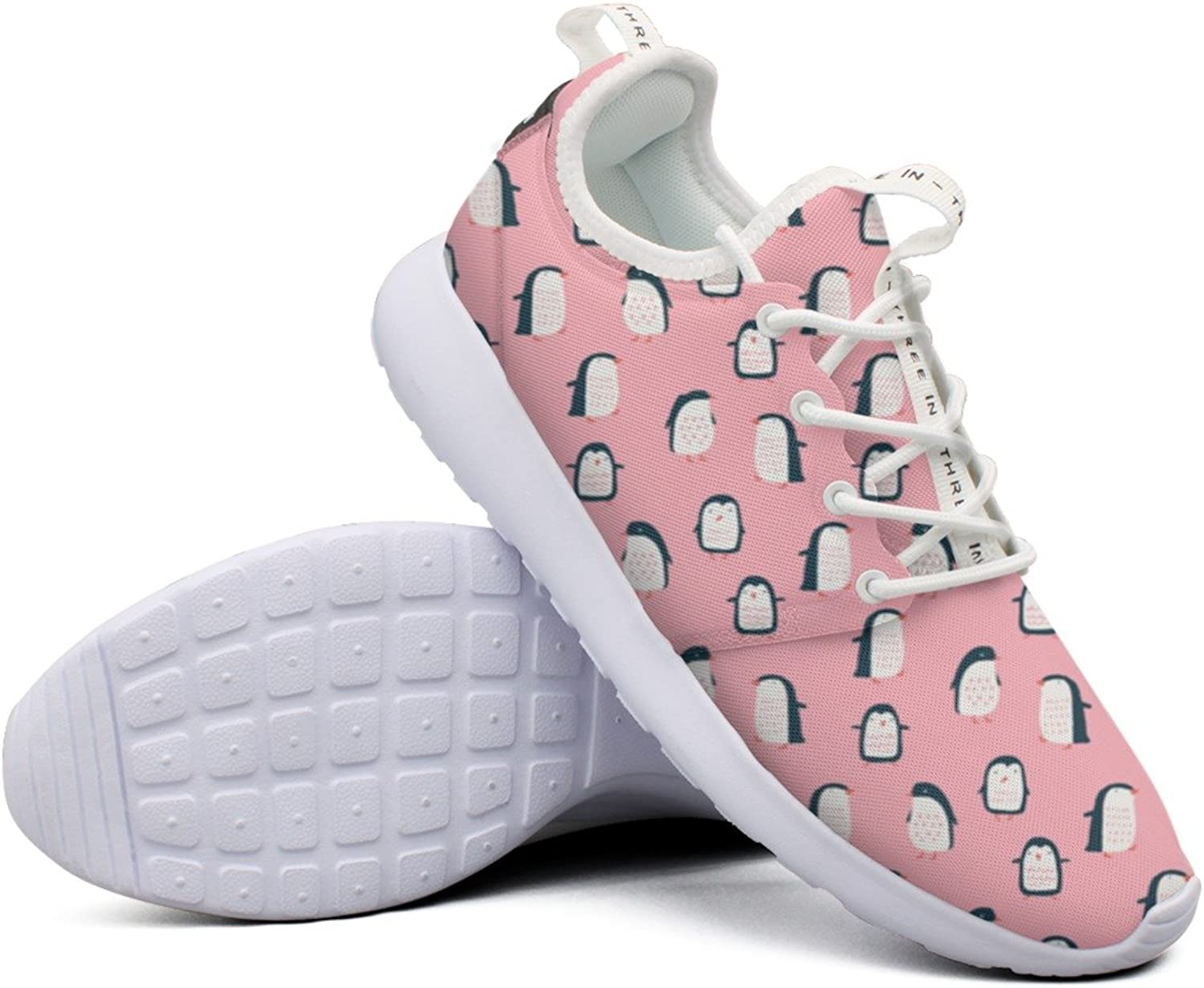 Women Girls Pink Background And Penguin colorful Printing Climbing Casual Running shoes