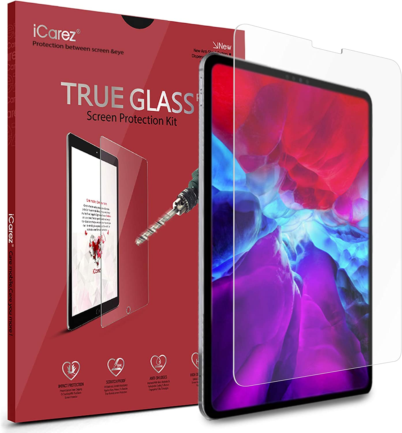 iCarez Tempered Glass Screen Protector for iPad Pro 12.9 2021/2020 / 2018 12.9-inches, 2-Pack