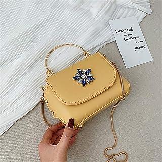 ZZZ Chain Messenger Bag Fashion Rhinestone Rivet Small Square Bag Metal Portable Korean Shoulder fashion (Color : Yellow)