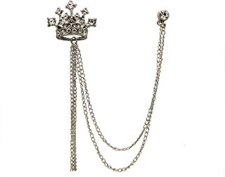 Knighthood Men's Silver Crystal Crown With Hanging Chain Lapel Pin Brooch