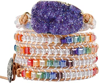 TUMBEELLUWA Wrap Bracelets Crystal Beaded Bohemian Style Druzy Leather Woven Healing Stone Jewelry for Women