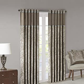 Madison Park Aubrey Jacquard Room-Darkening Window Curtain 2 Blackout Panel Pair for Bedroom and Dormitory, 50x95, Taupe