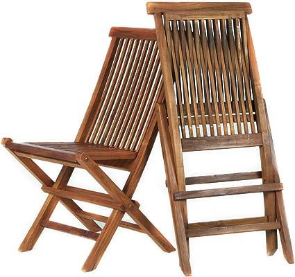 Madera de Teca Juego de 2/sillas Plegables de jard/ín
