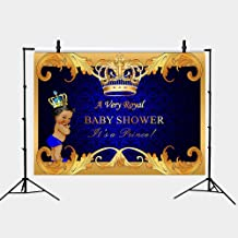 GYA Royal Little Prince Baby Shower Blue Backdrop Photo Vinyl Little Prince Royal Black Boy Gold Crown Photography Background for Baby Shower Party 5x3ft