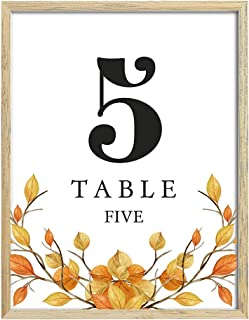 Darling Souvenir, Autumn Theme 1-20 Table Numbers Fall Wedding Reception Decor Table Cards (4x6 Inches)