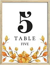 Darling Souvenir, Autumn Theme 1-50 Table Numbers Fall Wedding Reception Decor Table Cards (4x6 Inches)