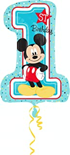 amscan 3434301 Disney Mickey & Friends Mickey Mouse 1st Birthday SuperShape Foil Balloon - 1 Pc