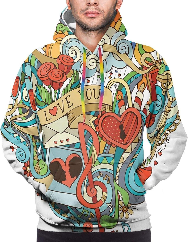 Men's Hoodies Sweatshirts,Love Valentines Romantic Pattern with Little Hearts Children Kids Girlish