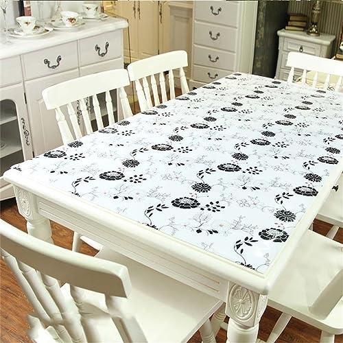 LHL-ZQ Wasserdichte PVC-Tischdecke, Weißes Glas ölBesteändig Kein-sauberes Speisetisch-Tuch, Plastikkaffeetisch-Matten, scheuern Tisch-Tuch, Kristall-Platte (Farbe     2, Größe   90  15cm)