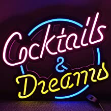 Cocktails & Dreams LED Neon Light Signs for Beer Bar Club Bedroom Office Hotel Pub Cafe Wedding Birthday Party Man Cave Ar...