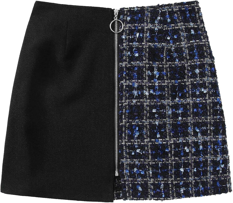 WDIRARA Women's Elegant High Waist Asymmetrical Hem Sequin Solid Mini Skirt