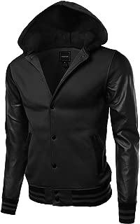 Youstar Men's Fine Quality Hood Detachable Faux Leather Contrast Stadium Jacket
