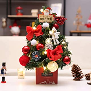 AMS 18'' Tabletop Mini Artificial Christmas Tree Decor with Battery Operated Warm White Lights (45cm, Red)