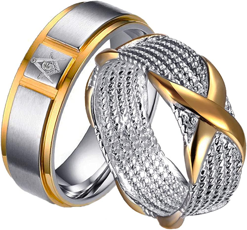 LWJYX Couple Ring His Hers X Shaped Two Tone Wedding Engagement