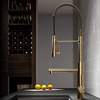 Kraus KPF-1603BG Artec Pro 2-Function Commercial Style Pre-Rinse Kitchen Faucet with Pull-Down Spring Spout and Pot Filler, 24.75 Inch, Brushed Gold Finish