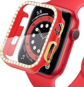 LOBKIN Bling Apple Watch Case 38mm 40mm 42mm 44mm with Tempered Glass Screen Protector Crystal Diamond Shiny Bumper Protective Case Cover Compatible for Apple Watch Series SE 6 5 4 3 2 1