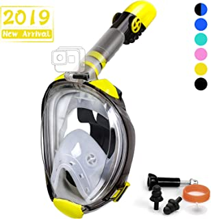 OUSPT Full Face Snorkel Mask, Snorkeling Mask with Detachable Camera Mount, Panoramic 180° View Upgraded Dive Mask with Newest Breathing System, Dry Top Set Anti-Fog Anti-Leak