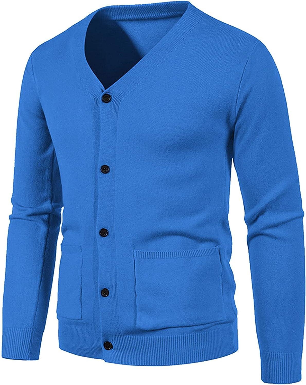 Mens Cardigan Sweater Cotton Pockets Long Sleeve Pullover Jumper Slim Fit V-Neck Button Up Knitwear